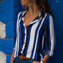 Load image into Gallery viewer, Fashion Color Block Stripes Long Sleeve Blouse