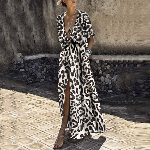 Sexy Deep V Collar Leopard Printed Maxi Dress