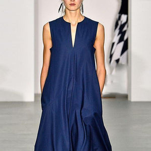 V Collar With Sleeveless And Minimalism Maxi Dress
