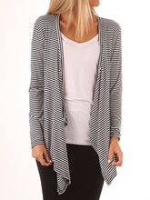 Load image into Gallery viewer, Open Front Irregular Hem Striped Cardigan