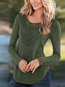 Round Neck  Decorative Lace Patchwork  Crochet  Plain Long Sleeve T-Shirts