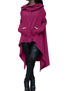 Solid Color Irregular Long Hooded Sweater