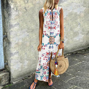 Cotton/Linen Printed Casual Dress