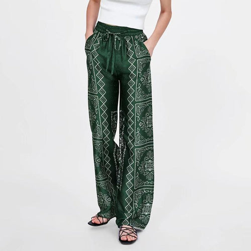 Fashion Bohemian Printed Elastic Waist Pants