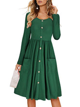 Load image into Gallery viewer, Round Neck  Decorative Buttons Patch Pocket  Plain Skater Dress
