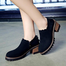 Load image into Gallery viewer, Plain  Chunky  Mid Heeled  Velvet  Round Toe  Outdoor High Heels Boots