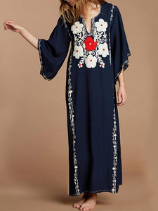 Cotton Embroidered Beach Holiday Casual Dresses