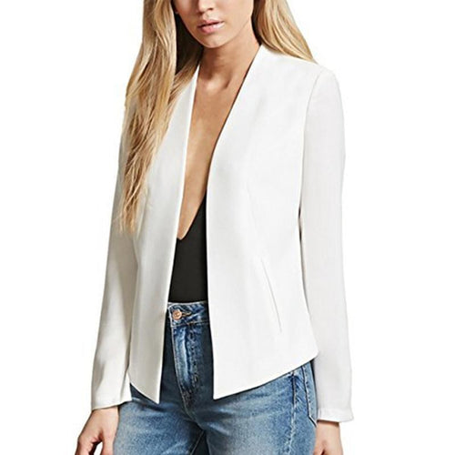 Asymmetric  Hem  Plain  Basic  Blazers
