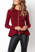 Load image into Gallery viewer, Zipper  Cascading Ruffles  Plain Jackets
