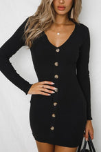 Load image into Gallery viewer, V Neck  Single Breasted  Plain  Long Sleeve Bodycon Dresses