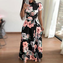Load image into Gallery viewer, Turtle Neck Floral Printed Short Sleeve Lace Up Maxi Dress