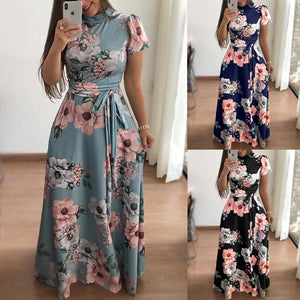 Turtle Neck Floral Printed Short Sleeve Lace Up Maxi Dress