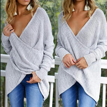 Load image into Gallery viewer, V Neck Cross Long Sleeve Plain Sweaters