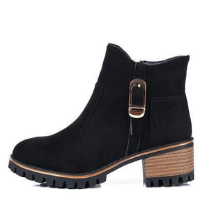 Girls Chunky Heel Side Zipper Ankle Boots