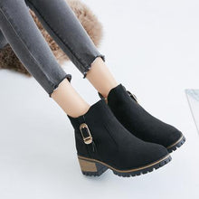 Load image into Gallery viewer, Girls Chunky Heel Side Zipper Ankle Boots