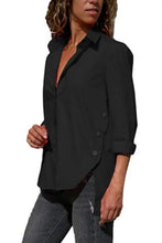 Load image into Gallery viewer, Turn Down Collar  Asymmetric Hem  Plain  Blouses