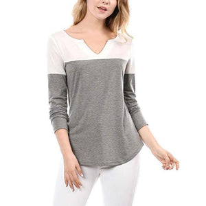 Women Autumn New Shirts Patchwork V Neck Casual Pullover T-Shirts