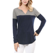 Load image into Gallery viewer, Women Autumn New Shirts Patchwork V Neck Casual Pullover T-Shirts