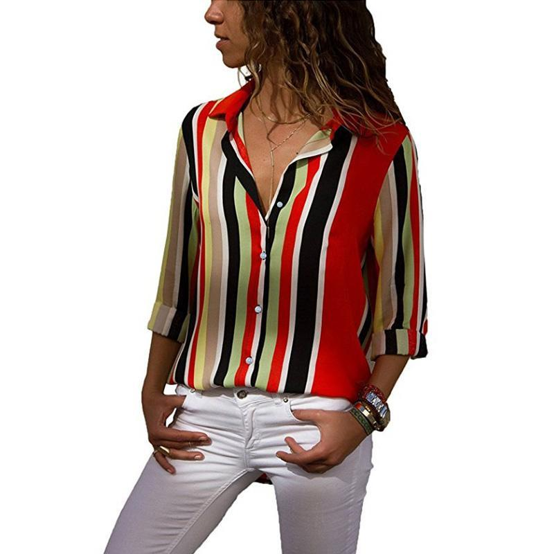Lapel Button Long Sleeve Printed Casual Blouse
