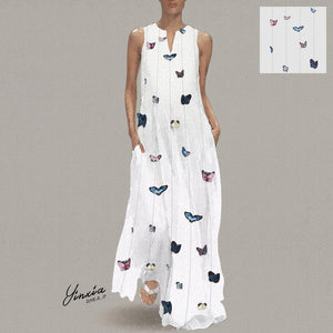 Butterfly Printed Maxi Shift Dress