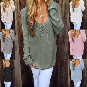 Loose Round Neck Long Sleeve Plain Knitting Sweaters
