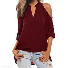 Load image into Gallery viewer, Round V Neck Long Sleeve Strapless Shoulder Casual T-Shirts