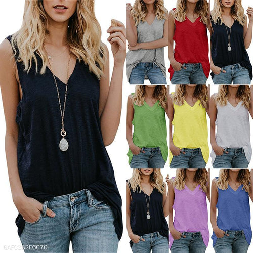Sexy V Neck Sleeveless Plain Casual Camis