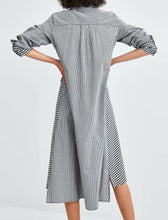 Load image into Gallery viewer, Plain Plaids Patchwork Shirt Dress