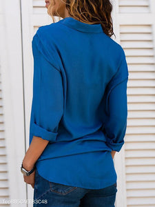 V-Neck Long Sleeve Chiffon Blouses