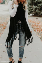 Load image into Gallery viewer, Asymmetric Hem Fringe  Plain Cardigans