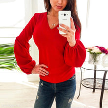 Load image into Gallery viewer, V Neck Lantern Long Sleeve Plain Casual Blouses