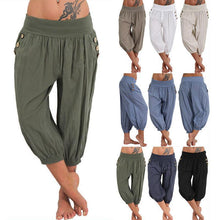 Load image into Gallery viewer, Cotton/Line Elastic Waist Casual Pant