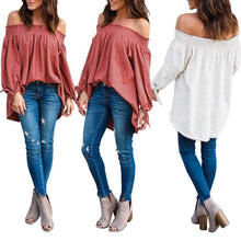 Load image into Gallery viewer, Fashion Elastic Off Shoulder Long Sleeve Stripes Blouses