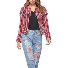 Load image into Gallery viewer, Round Neck Tassel Long Sleeve Fashion Jackets