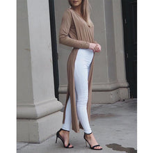 Load image into Gallery viewer, Long Sleeve Stitching Sexy Deep V Neck Slit Dress