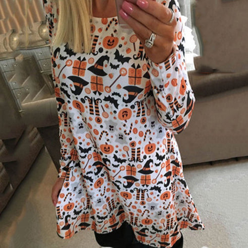 Halloween Round Neck Long Sleeve Party Dresses