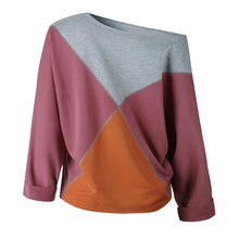 Load image into Gallery viewer, Color Block Patchwork Long Sleeve Round Neck T-Shirts