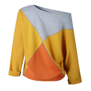 Color Block Patchwork Long Sleeve Round Neck T-Shirts