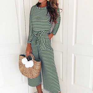 Long-Sleeved Striped Print Jumpsuits