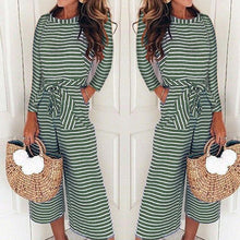 Load image into Gallery viewer, Long-Sleeved Striped Print Jumpsuits