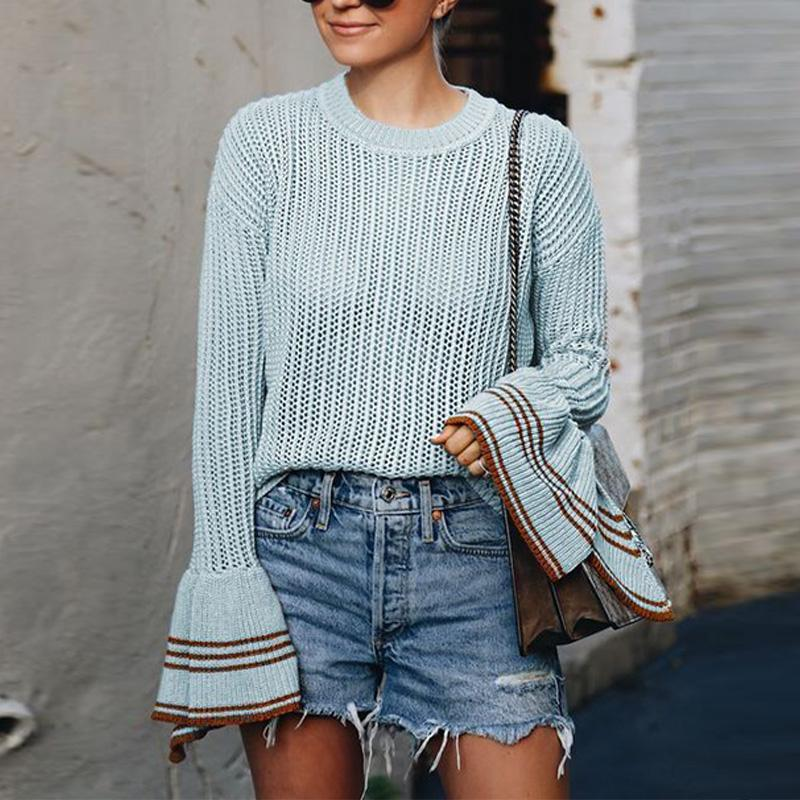 Round Neck Long Flare Sleeve Knitting Sweaters