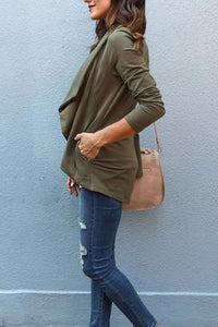 Asymmetric Neck  Zipper  Plain Jackets