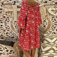 Load image into Gallery viewer, V Neck Lace Up Floral Printed Flare Sleeve Casual Dress