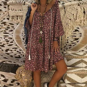V Neck Lace Up Floral Printed Flare Sleeve Casual Dress
