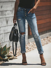 Load image into Gallery viewer, High Waist Button Up Ripped Denim Jeans Pants
