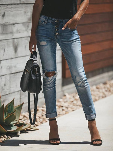 High Waist Button Up Ripped Denim Jeans Pants