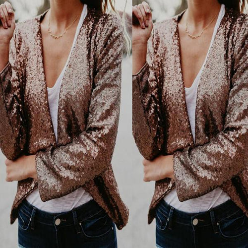 Stand Collar Sequined Long Sleeve Cardigans