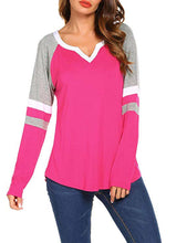 Load image into Gallery viewer, Fashion V Neck Patchwork Long Sleeve T-Shirts
