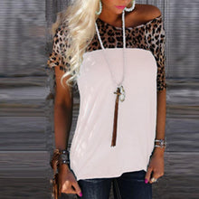 Load image into Gallery viewer, Round Neck Short Sleeve Leopard Printed Patchwork T-Shirts
