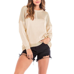 Round Neck Hollow Out Long Sleeve Knitting Sweaters